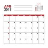 Calendar for April 2018. Template of calendar for April 2018 Royalty Free Stock Photos