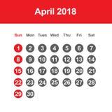 Calendar for April 2018. Template of calendar for April 2018 Royalty Free Stock Photo