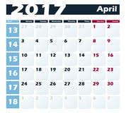 Calendar 2017 April vector design template. Week starts with Monday. European version. Calendar 2017 April vector design template. Week starts with Monday Stock Photos