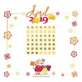 Calendar 2019 for April. Yellow pig with bags after shopping. Light background. Wonderful month. Design for printing on fabric or paper vector illustration