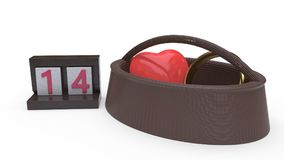 Calendar artigos e conceito do dia do ` s do Valentim das cestas, rendição 3d Imagem de Stock