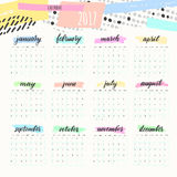 Calendar 2017 artistic design colors Royalty Free Stock Photography