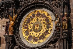Calendar of the Astronomical Clock in Prague. Calendar of the astronomical clock with with holidays and names of 365 saints, allegories of the months and zodiac royalty free stock photos