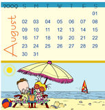 Calendar - August 2009. Page of august calendar 2009, with a little summer scene where we can see children in deckchairs on the beach under a beach umbrella and Stock Photo