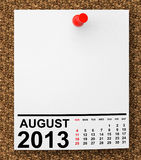 Calendar August 2013. On blank note paper with free space for your text Royalty Free Stock Photography