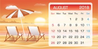 Calendar of August 2018 with chair on sunset beach. A calendar of August 2018 with chair on sunset beach Royalty Free Stock Images