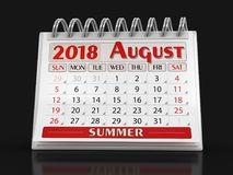 Calendar -  August 2018. Clipping path included Royalty Free Stock Images