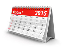 Calendar -  August 2015 (clipping path included). Calendar year 2015 image. Image with clipping path Stock Photos
