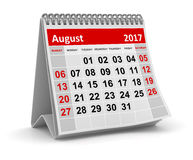 Calendar - August 2017 Royalty Free Stock Photos