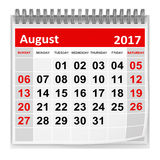 Calendar - August 2017. This is a 3d rendered computer generated image. Isolated on white royalty free illustration
