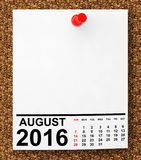 Calendar August 2016. 3d Rendering Stock Photos