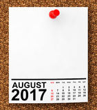 Calendar August 2017. 3d Rendering. Calendar August 2017 on blank note paper with free space for your text.3d Rendering stock illustration