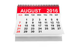 Calendar August 2016. 3d rendering. 2016 year calendar. August calendar on a white background. 3d rendering vector illustration