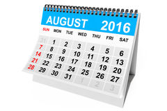 Calendar August 2016. 3d Rendering. 2016 year calendar. August calendar on a white background. 3d Rendering stock illustration