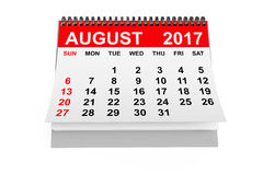 Calendar August 2017. 3d rendering. 2017 year calendar. August calendar on a white background. 3d rendering Royalty Free Stock Images