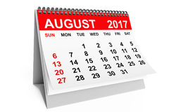 Calendar August 2017. 3d rendering. 2017 year calendar. August calendar on a white background. 3d rendering Stock Images