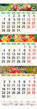 Calendar for August September and October 2017. Office calendar for three months August September and October 2017 with images of ripe apples marigolds and Royalty Free Stock Images