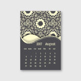 Calendar august 2017 start sunday with hand drawn mandala patter. N. Vintage oriental style with grunge effect. Vector illustration Stock Photography