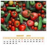 Calendar for August 2018 with still life. red tomatoes and green Stock Photos