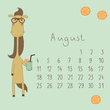 Calendar for August 2014. Calendar with the symbol of the eastern horoscope. Year of the Horse stock illustration