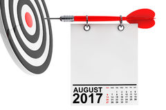 Calendar August 2017 with target. 3d Rendering. Calendar August 2017 on blank note paper with free space for your text with target. 3d Rendering Stock Image