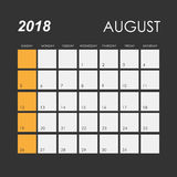 Calendar for August 2018 Royalty Free Stock Photo
