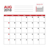 Calendar for August 2018. Template of calendar for August 2018 Stock Photo