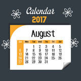 Calendar august 2017 template icon. Vector illustration design Royalty Free Stock Photography