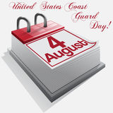 Calendar 4 August United States Coast Guard Day. Calendar 4 August, United States Coast Guard Day . Vector Stock Photo