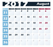 Calendar 2017 August vector design template. Week starts with Monday. European version Stock Images