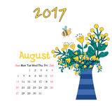 Calendar August 2017. Vector Template. Week starts Sunday Stock Photos