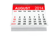 Calendar August 2014 Royalty Free Stock Photography