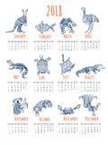 Calendar with australian animals. Stock Photos