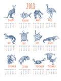 Calendar with australian animals. 2018 calendar with cute stylized animals stock illustration