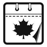 Calendar autumn icon, simple black style. Calendar autumn icon. Simple illustration of calendar autumn  icon for web royalty free illustration