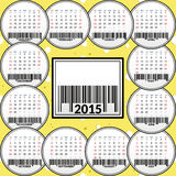 Calendar for 2015 on the background of cheese. Vector illustration Stock Illustration