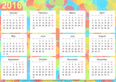 Calendar 2016 background colorful circles USA Royalty Free Stock Image