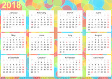 Calendar 2018 background colorful circles USA. Calendar 2018 background with colorful circles, each month on white squares and with public holidays for the USA Royalty Free Stock Photos