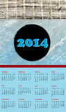 Calendar 2014. With Background Hockey Stick and Puck over Ice Rink Stock Images