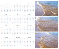 Calendar 2015 on the Background of Sea, Sun, Beach Stock Photo