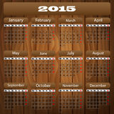 Calendar 2015. On the background of wood Royalty Free Stock Images