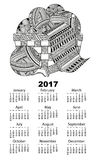 Calendar ball of yarn. Vector illustration of vertical 2017 calendar with a ball of yarn, thread and knit a scarf in a wicker basket boho zentagle. Black and vector illustration