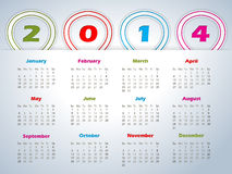 2014 calendar with balloon shaped ribbons Stock Image