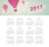 Calendar 2017 with balloon, sky, cloud, aerostat. Modern vector Calendar 2017 year with balloon, sky, cloud, aerostat. Week Starts Sunday, eps 10 Royalty Free Stock Images