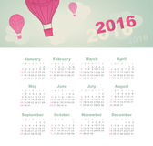 Calendar for 2016. Balloon, sky, cloud, aerostat. Calendar for 2016 with balloon, sky, cloud, aerostat. Week Starts Sunday Stock Photography