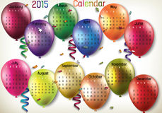 2015 Calendar-Balloon. Balloon 2015 calendar in us style, start on sunday, each month with individual table vector illustration