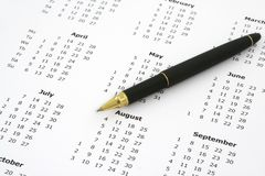 Calendar and ballpoint pen #2 Royalty Free Stock Image
