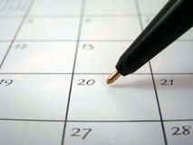 Calendar and Ballpoint Pen Royalty Free Stock Photo