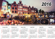 Calendar 2016. Beautiful calm night view of Amsterdam city.  Royalty Free Stock Images