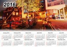 Calendar 2016. Beautiful calm night view of Amsterdam city.  Royalty Free Stock Photos